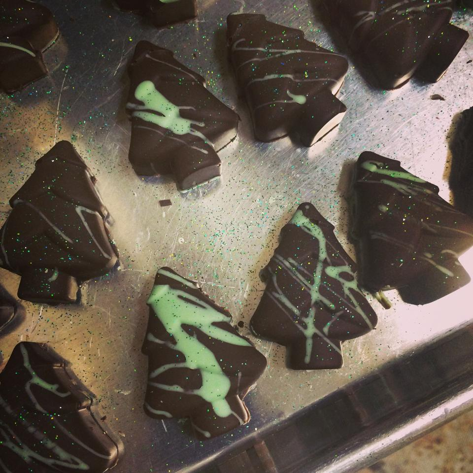 Dark Chocolate Mint Truffle Trees by Elle's Patisserie