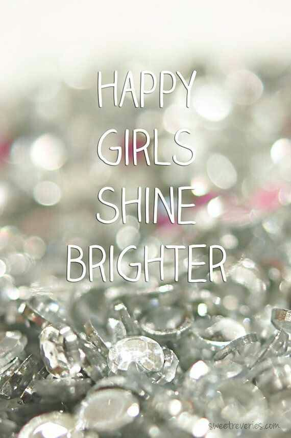 Inspirational Sparkle Quote Happy Girls Shine Brighter